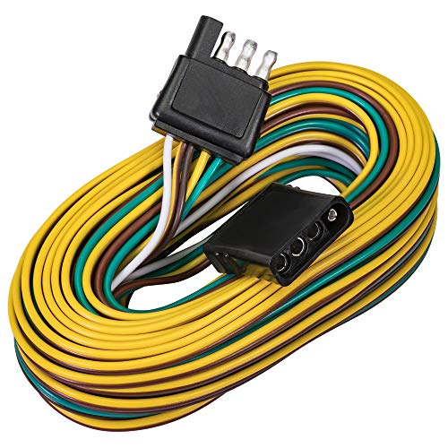 4 Pin Flat Trailer Wiring Harness Kit [Wishbone-Style] [SAE J1128 Rated] [25' Male & 4' Female] [18 AWG Color Coded Wires] 4 Way Flat 5 Wire Harness For Utility Boat Trailer Lights Kits