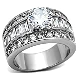 1000 Jewels Bienna: 5.2ct Ice on Fire CZ 3 in 1 Stacked Bridal Wedding Ring Set 316 Steel, 3076A sz 7.0
