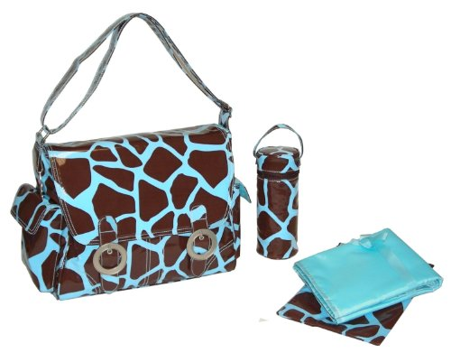 Kalencom - Juego de bolso cambiador con accesorios, diseño de jirafa, color marrón y azul