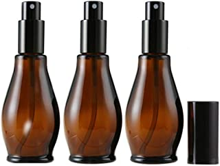 3 botellas de spray de cristal ámbar vacías de 100 ml para limpieza de perfume cosmético con pulverizadores de niebla fin...