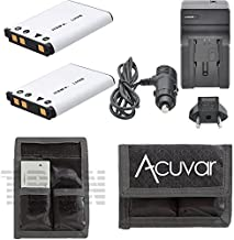 2 LI-42B Batteries for Olympus Camera + Car / Home Charger + Acuvar Battery Pouch for FE-320, FE-340, FE-350, FE-360, FE-3000, FE-3010, FE-4000, FE-4010, FE-4030, FE-5000 Camera and other models