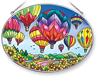 Amia 41253 Up and Away Hot Air Balloons 9 by 6-1/2-Inch Oval Sun Catcher, Large