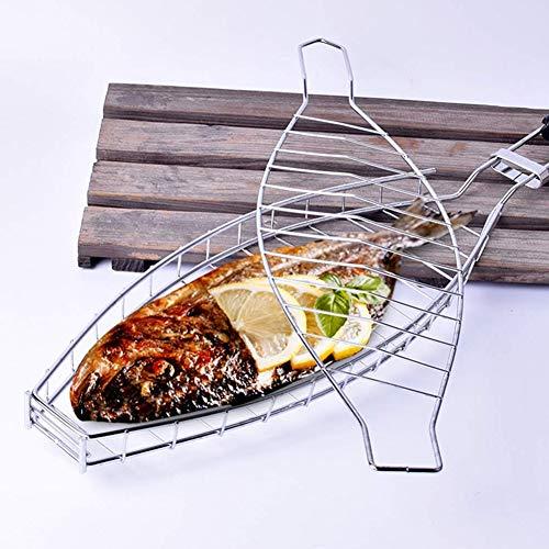 Cacoffay BBQ Edelstahl Grill-Korb Steak Grillkorb Fischgriller Fischbräter Fischhalter Grillwender aus Griff - Ideal Barbecue Grillen Kit