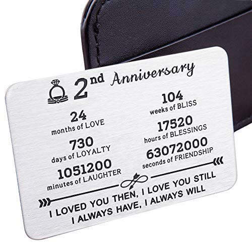 Wedding Anniversary Wallet Card Insert for Him Her 1st 2nd 5th 10th 11th Husband Wife Anniversary Valentine's Day Christmas for Couple Men Women Birthday I Love You Note Hubby