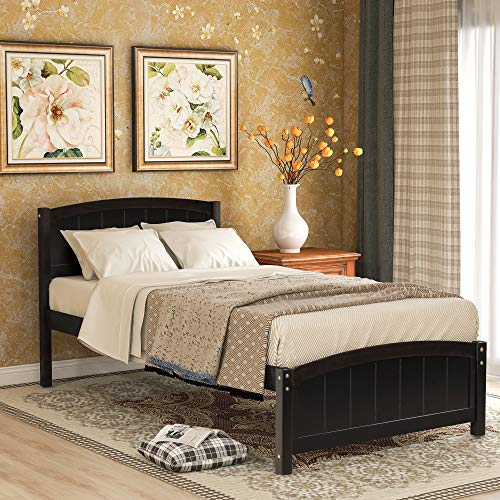 Twin Bed Frame, Wood Platform Bed with Headboard, Footboard and Wood Slat Support, Espresso