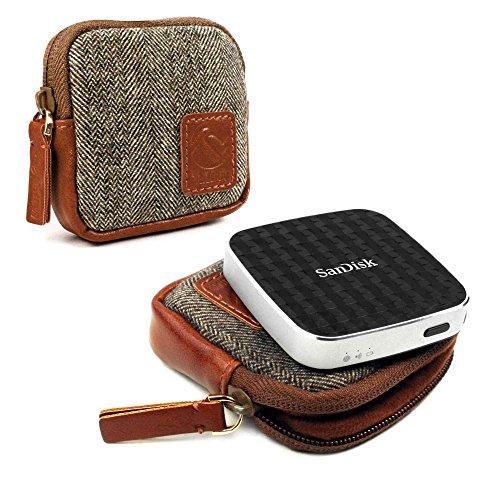 Tuff Luv Herringbone Tweed Travel Case for Sandisk Connect Wireless Media Drive