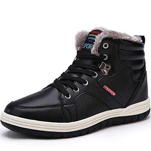 Quickshark Mens Snow Boots Waterproof Winter Boots High Top Sneaker Outdoor Non-Slip Snow Shoes Fur Lining (9 US = EU 43, 4-Black)