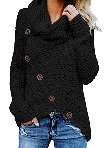 FIYOTE Damen Winterjacke Warm Strickjacke Rollkragen Cardigan Strickpullover Casual Wrap Wickel Pullover Sweater 7 Farbe S/M/L/XL/XXL, 1-schwarz, L