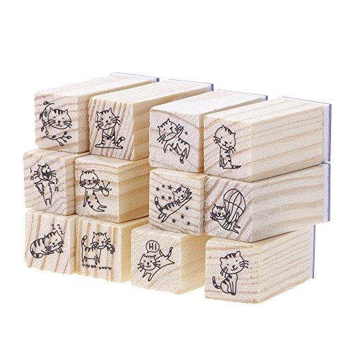 ?HuntGold 12 Stück DIY Niedlich Cartoon Holz Stempel für Kinder Dekor Katze