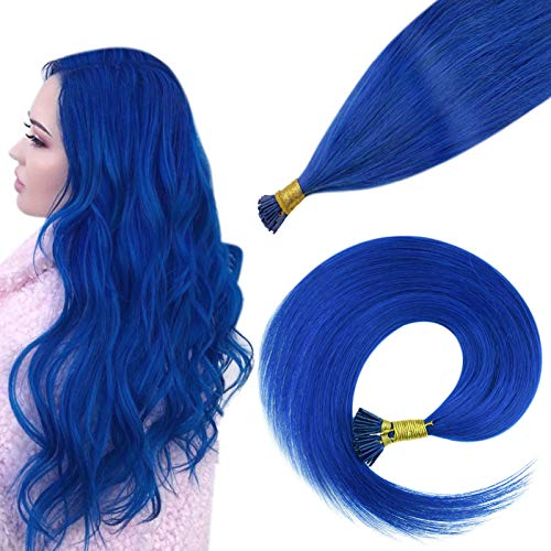 Easyouth I-tip Remy Hair Extension, Blue