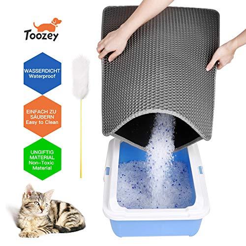 Toozey Tapis de litière pour chat avec double couche...