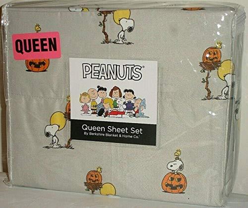 Peanuts Snoopy & Woodstock Halloween Queen Sheet Set by Berkshire ~ Pumpkins!