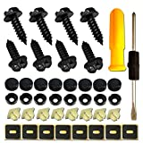Stainless Steel License Plate Screws -No Rust Plate Screws for Fastening License Plate Cover, Front or Rear License Plate Frames with Screw Black Caps (Hex Slotted Black Screws) vibration plates Apr, 2021