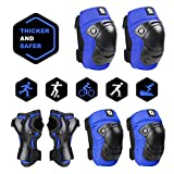 DaCool Kids Knee Pad Elbow Pads Wrist Guards for 3~8 years Thicker Safer Toddler Protective Gear Set Skateboard Bike Safety Pads Boys for Skating Cycling Rollerblading Scooter Sports Safety Gear Blue