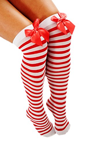 Dress Me Up - W-058-Red Karneval Fasching Strümpfe Overknee Kniestrümpfe Weiß Rot Ringel Gestreift Rote Schleife Kess Girly Sexy Wild Z191