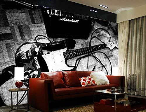 3D Fototapete 3D Stereo benutzerdefinierte Tapete nostalgische Persönlichkeit Vintage Gitarre Tapete Wandbild