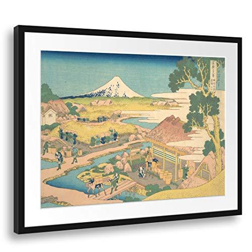 Passepartout (80x60cm): Katsushika Hokusai - Fuji de los Campos de té Katakura en Suruga (Sunshū Katakura chaen no Fuji), de la Serie Treinta y Seis Vistas del Monte Fuji (Fugaku sanjūrokkei)