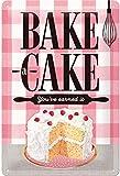 Nostalgic-Art Cartel de Chapa Retro Home & Country – Bake A Cake – Idea de Regalo para la Cocina, metálico, Diseño Vintage para decoración, 20 x 30 cm