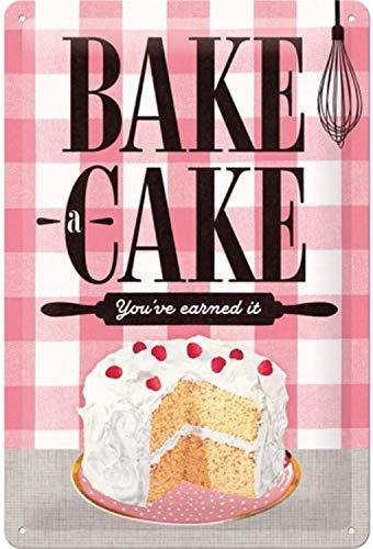 Nostalgic-Art Retro Blechschild, Home & Country – Bake A Cake – Geschenk-Idee für Nostalgie-Fans, aus Metall, Vintage-Dekoration, 20 x 30 cm