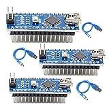 SUBALIGU 3pcs Mini Nano V3.0, Nano Board ATmega328P CH340 5V 16MHZ Micro-Controller Board Compatible with Arduino IDE Mega2560 Raspberry Pi (Nano x 3 with USB Cable)