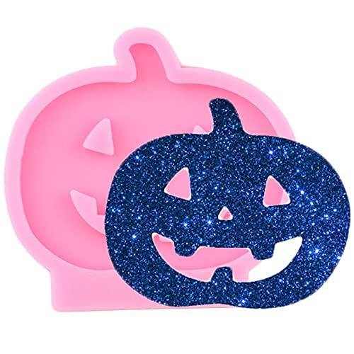 LIUXIYUANG Molde de Llavero de Silicona de Calabaza de Halloween Brillante Que Hace moldes de Resina epoxi Colgante de Arcilla polimérica Molde de llaveros Personalizados