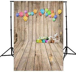 5x 7ft GradeAAAAA木製テーマカラフルバルーンCute Bear Studioフォト写真背景StudioバックドロップProps Best for Personal写真、壁の装飾、ベビー、子供、Kids、新生児フォト