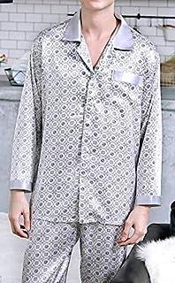 シルク100%パジャマ 長袖メンズ アート柄 グレー