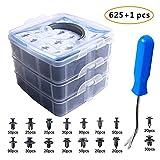 EZYKOO 625Pcs Car Push Retainer Clips & Plastic Fasteners Kit - 16 Most Popular Sizes Auto Push Pin Rivets Set...