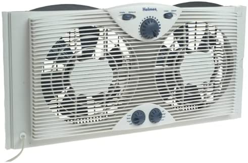 """lowest Holmes Dual 8"""" sale Blade discount Twin Window Fan with Manual Controls, 3 Speed Settings, White outlet online sale"""