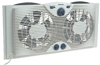 Holmes Dual 8  Blade Twin Window Fan with Manual Controls 3 Speed Settings White