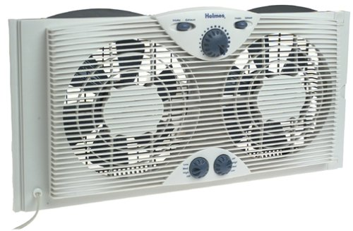 Holmes Dual 8' Blade Twin Window Fan with Manual Controls, 3 Speed Settings, White