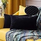 MIULEE Fundas Cojines para Cama Funda de Almohada de Pana Cojin Rectangular de Sofa Color Solido Poliéster Decoracion para Habitacion Dormitorio Oficina Silla Salon Comedor 2 Pieza 30x50cm Negro