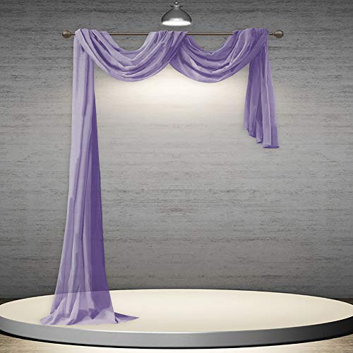 DONREN Lavender Purple Luxury Semi Sheer Window Scarf for Outdoor Decoration - Add Beautiful Elegant Effect to Curtain Drapes (1 Panel 52 by 216 Inch)