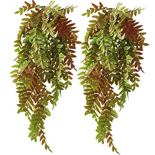 Decoración de Pared Ivy Vine Plantas Colgantes Artificiales de Helecho Hojas de Hiedra Guirnalda de Plantas Artificiales Enredadera Colgante Artificial para La Decoración del Hogar al Aire Libre