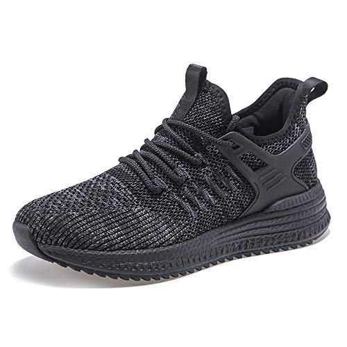 SDolphin Womens Black Running Shoes Sneakers Tennis Shoes for Women Ladies Workout Memory Foam Nursing Breathable Mesh Flats Slip on Work Jogging Gym Walking Road Running Shoes All Black 7 B (M) US