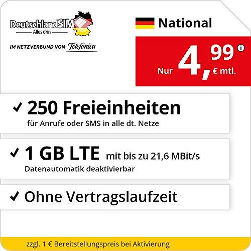 Handyvertrag DeutschlandSIM LTE 1000 National - ohne Vertragslaufzeit (1 GB LTE mit max. 21,6 MBit/s inkl. deaktivierbarer Datenautomatik, 250 Freieinheiten für Anrufe oder SMS, 4,99 Euro/Monat)