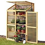 Garden Grow 3 Tier Wooden Cold Frame Greenhouse, Outdoor Polycarbonate Storage for Plants & Vegetables, Height 130.5cm (Mini Greenhouse)