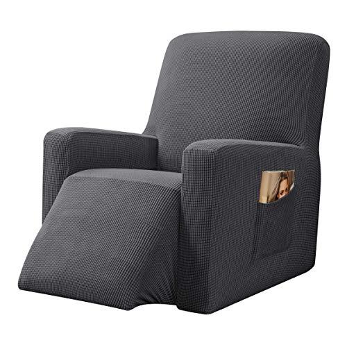 CHUN YI Strech Recliner Überzug Sessel Husse, Bezug für Relax Fernsehsessel Relaxstuhl, 1 stück Jacquard Stuhl Schonbezug mit Gummiband, Liege Sessel (Grau)