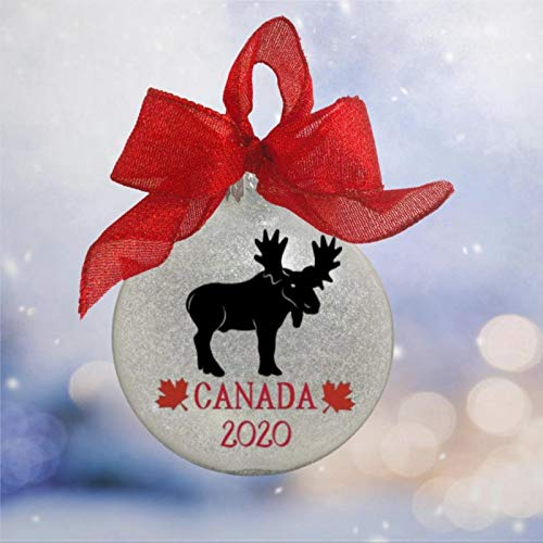 DONL9BAUER Canada Banff Moose Animal Acrylic Christmas Ball Ornament, Christmas Bauble Tree Ornament with presents for Church Members,Holiday,Family & Friends.