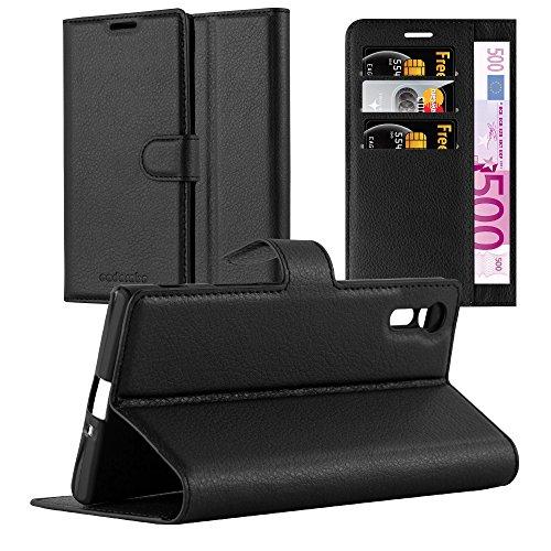 Cadorabo Hülle für Sony Xperia XZ/XZs in Phantom SCHWARZ - Handyhülle mit Magnetverschluss, Standfunktion & Kartenfach - Hülle Cover Schutzhülle Etui Tasche Book Klapp Style