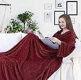 DecoKing Manta de Microfibra, con Mangas y Bolsillos, Forro Polar Suave y cálido, con Compartimento para los pies 170x200 cm Burdeos