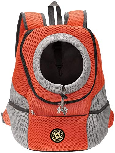 PETnSport Pet Backpack Carrier Adjustable Padded Shoulder Straps Durable Mesh Breathable Hands Free Travel Bag with Drawstring Neck Strap Safe for Small Dogs Cats