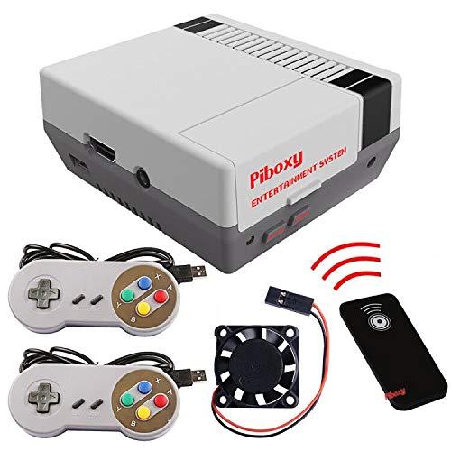 MakerFun Piboxy NES Case con Ventilador y botón de reinicio y Apagado Seguro y Mando a Distancia IR para Raspberry Pi2B/3B/3B+ (Piboxy con Controller)