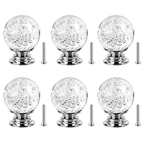 6 Piezas Cristal de Cristal Pomo, Tiradores de Cristal, Pomos de Cristal, Pomos de Cristal Redondos, con Burbujas, Tornillos, para Alacena, Baño, Cocina, Gabinetes, Accesorios para Muebles