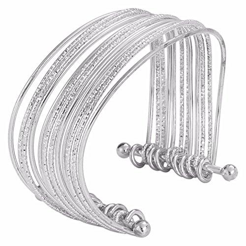 Indian Bollywood Designer Jewellery Silver Tone Fancy Party Wear Adjustable Cuff and Kada Bracelet for Girls & Women