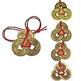 Pangda 5 Juegos de Monedas Chinas Monedas de Fortuna Monedas Feng Shui Monedas de Suerte Monedas de I-Ching con Cordel Rojo