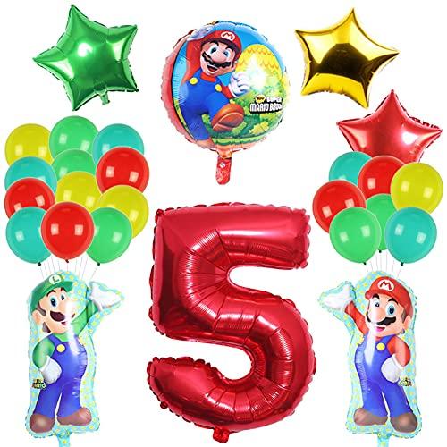 Nesloonp Globo de Foil Super Mario Decoraciones de Cumpleaños de Super Mario Aluminio Globo Suministros de Fiesta Látex de Puntos Pentagrama Pancarta Papel de Aluminio Número 5 Globos