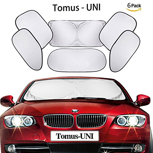 Tomus-UNI 6 Piece Car Windshield Sunshade Window Sunshade Protector Foldable Windshield UV Reflector Protector Keeps Vehicle Cool
