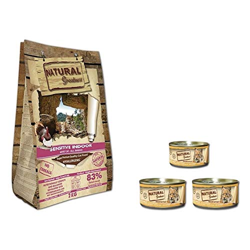Natural Greatness Pienso Gatos Esterilizados, Senior o de Interior Sin Cereales Hipoalergénico Saco 2 kg Incluye 3 Latas Comida Húmeda | ANIMALUJOS (Saco 2 KG + 3 LATAS)