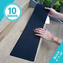 LifeGrip Anti Slip Traction Treads (10-Pack), 6 inch X 28 inch, Best Grip Tape Grit Non Slip, Outdoor Non Skid Tape, High Traction Friction Abrasive Adhesive for Stairs Step, Black